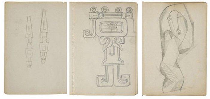 Henri Gaudier-Brzeska Chenil Sketchbook c.1913–14 three pages