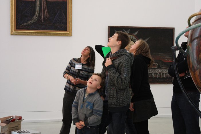 Families at the Family Talk event at Tate St Ives