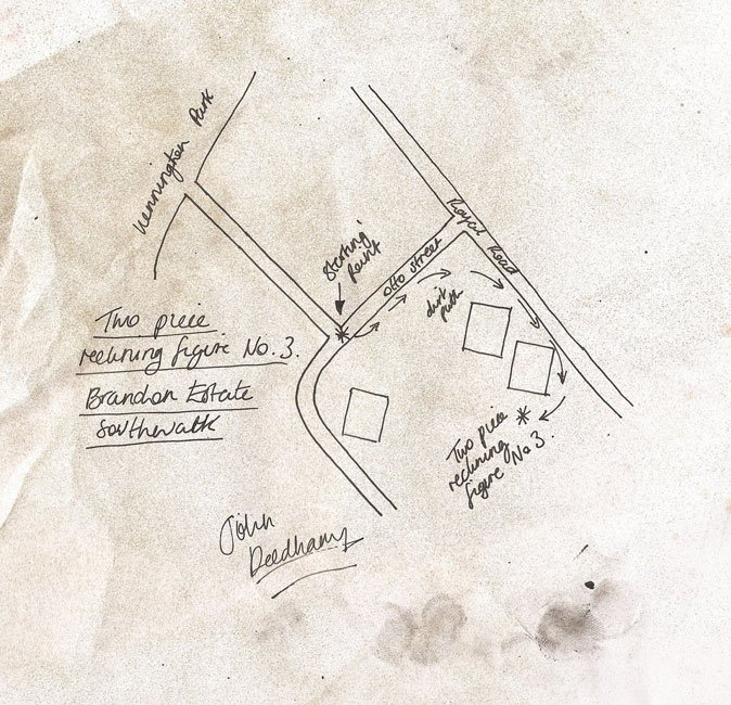 John Deedham Map, showing location of Two Piece Reclining Figure No.3 1961