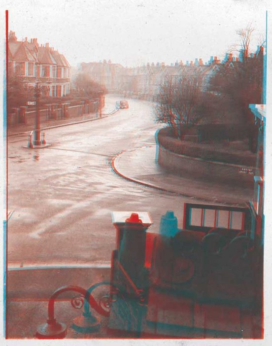 Stereoscopic photograph taken by Oliver Sacks, aged twelve, showing the junction of Exeter Road and Mapesbury Road in Kilburn 1945