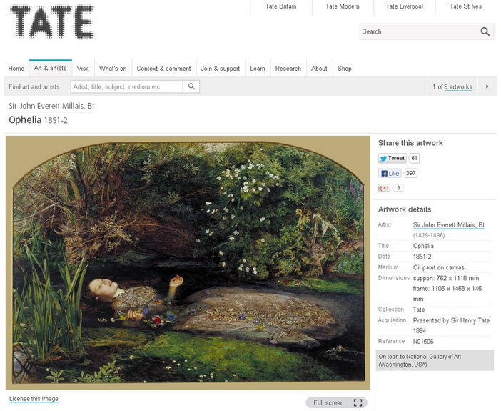 Sir John Everett Millais Ophelia Art & Artists Tate Collection online screen grab