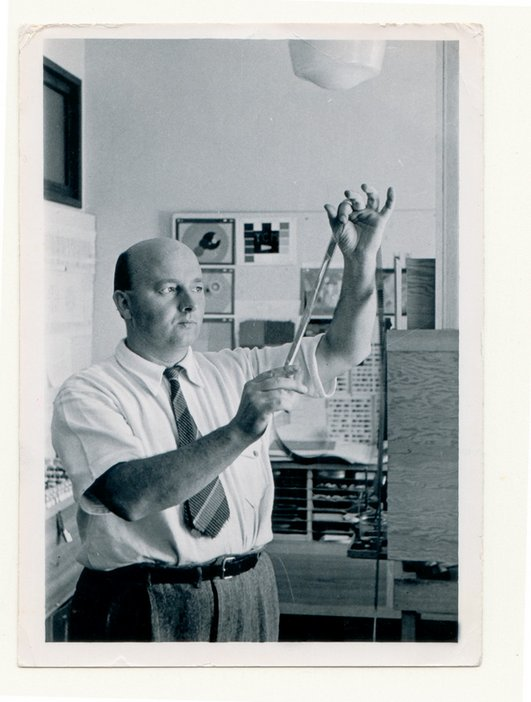 Oskar Fischinger working in his studio in Los Angeles c.1942