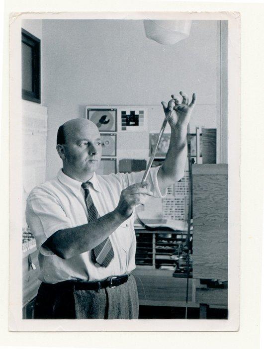 Oskar Fischinger working in his studio in Los Angeles c.1942