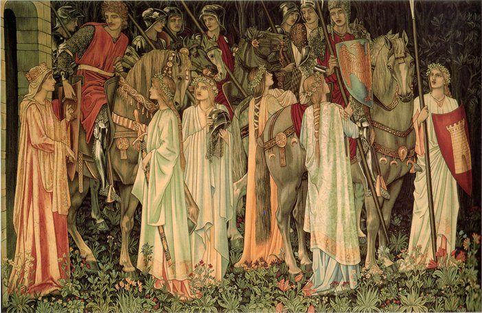 Edward Coley Burne-Jones The Arming and Departure of the Knights of the Round Table and the Quest for the Holy Grail Pre-Raphaelite tapestry
