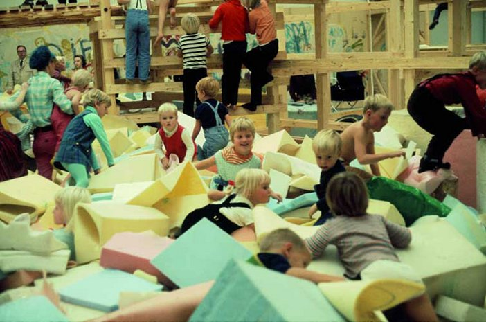 Palle Nielsen The Model: childen playing in large foam blocks