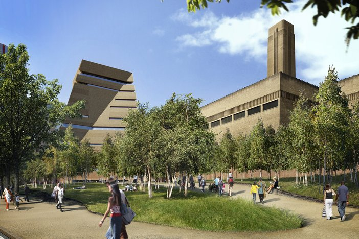 An artist's render of the new and old Tate Modern and gardens as seen from Park Street