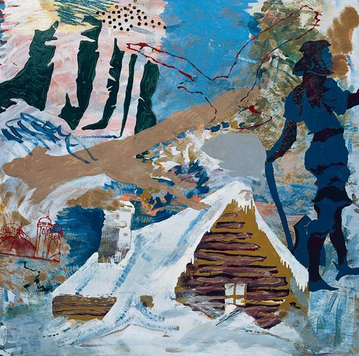 Per Kirkeby The Murder in Finnerup Barn 1967 painting of a barn in the snow