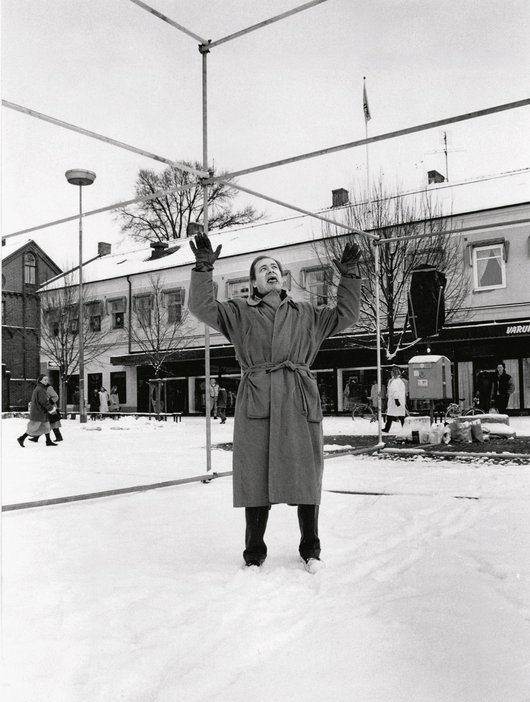 Per Kirkeby standing on the site of a work in progress in Lund Sweden