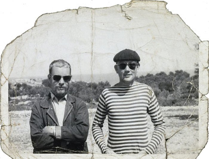 Peter Blake and Joe Tilson; black and white photo
