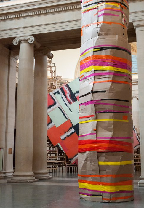 A component of Phyllida Barlow's installation at Tate Britain - a tall construction
