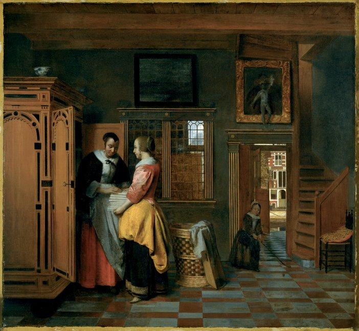 Pieter de Hooch Interior With Woman Beside a Linen Chest 1663