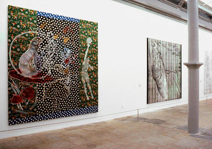 Installation view of Sigmar Polke's Alice in Wonderland (Alice im Wunderland) exhibited at Tate Liverpool, 1995