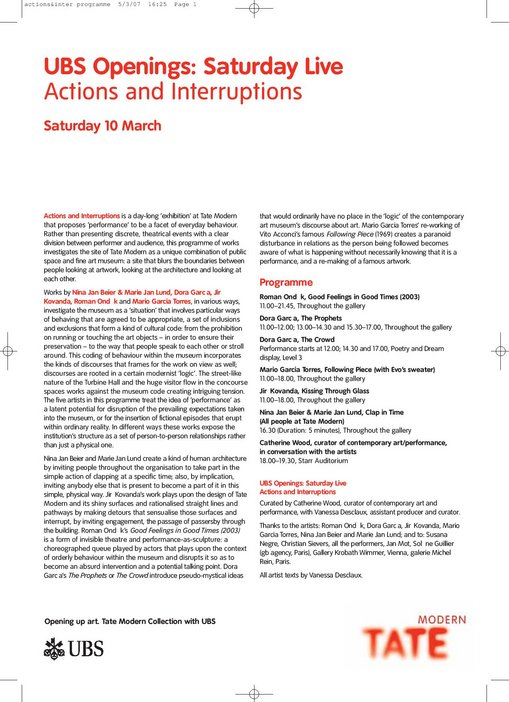 Actions and Interruptions programme notes p.1 of 6