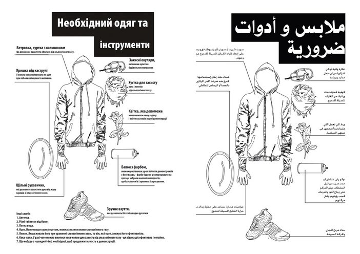 Anonymous leaflet circulated in Cairo in early 2011, offering protestors advice for peaceful mass demonstrations, confronting riot police and besieging government offices
