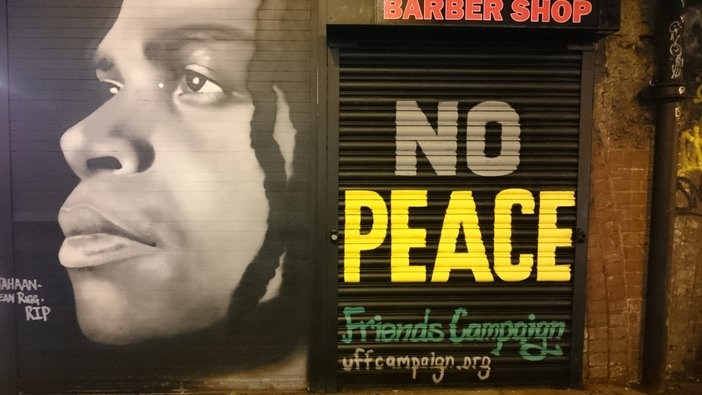 Brixton mural by an anonymous artist commemorating the death in police custody of Sean Rigg