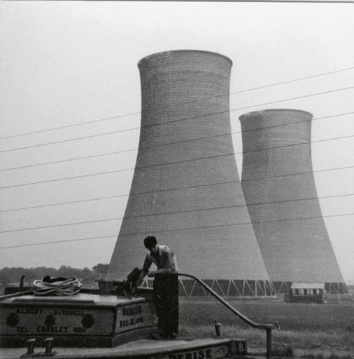 Photograph taken my Prunella Clough of cooling towers used as source material for her paintings c1950