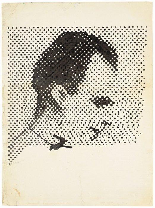Dot drawing side on portrait of Lee Harvey Oswald