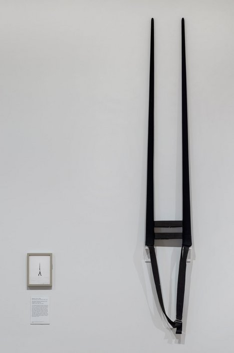 Rebecca Horn, installation view showing Moveable Shoulder Extensions 1971 alongside the performance still (fig.4) at Tate Modern 2016