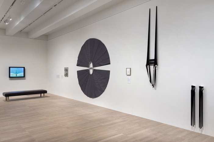 Installation view of work from Rebecca Horn's body-sculptures series, including Moveable Shoulder Extensions 1971, at Tate Modern 2016