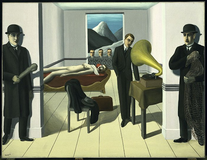 Rene Magritte's oil painting The Menaced Assassin.