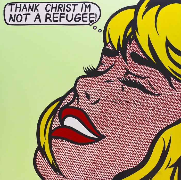 Richard Bell, Great Scott!, 2014, acrylic on linen, 150 x 150 cm – Courtesy the artist and Milani Gallery, Brisbane, photo Carl Warner