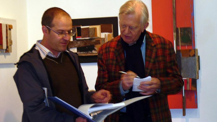 Rob showing his research on the Merzbarn to John Elderfield, who is a Schwitters expert and Chief Curator Emeritus at the Museum of Modern Art in New York
