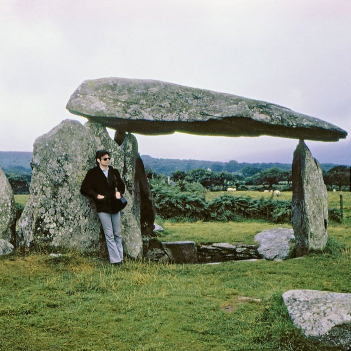 Robert Smithson at Pentre Ifan dolmen, Wales 1969