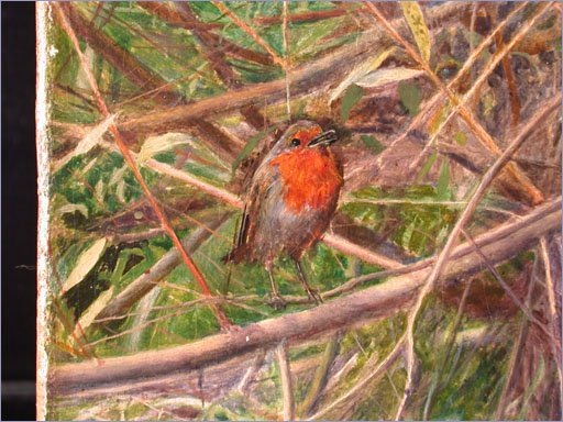 Detail of robin from Ophelia