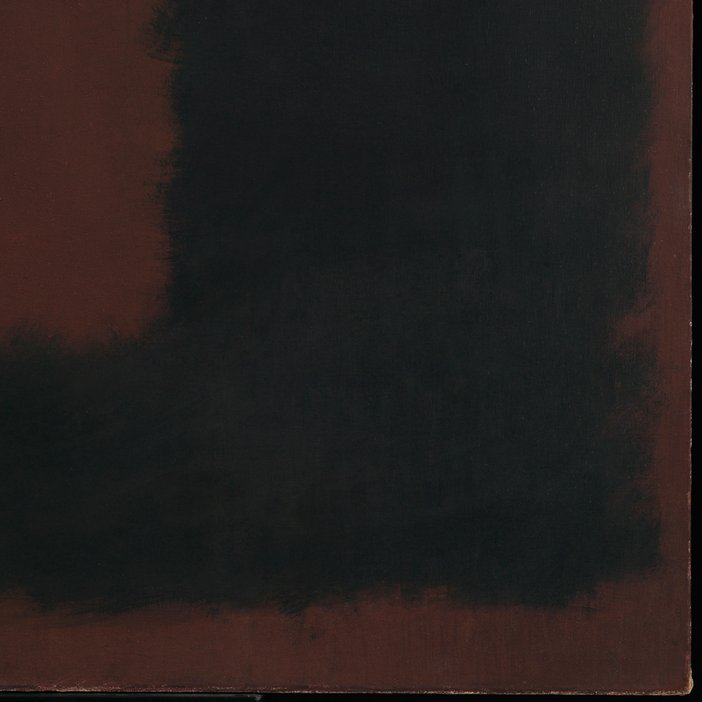 Corner detail of Untitled, Black on Maroon after treatment