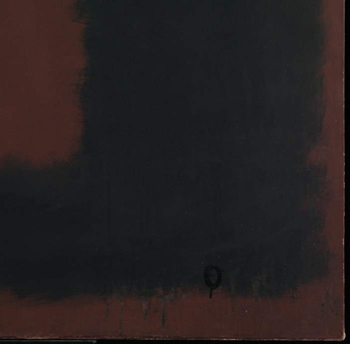 Corner detail of Untitled, Black on Maroon during treatment