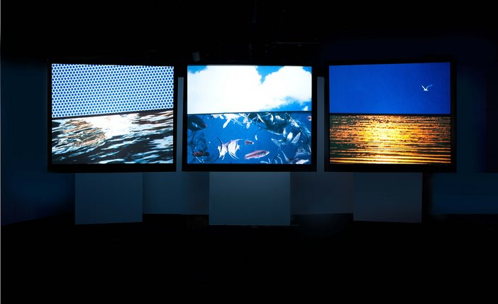 Three film screens next to each other, each showing a different natural landscape