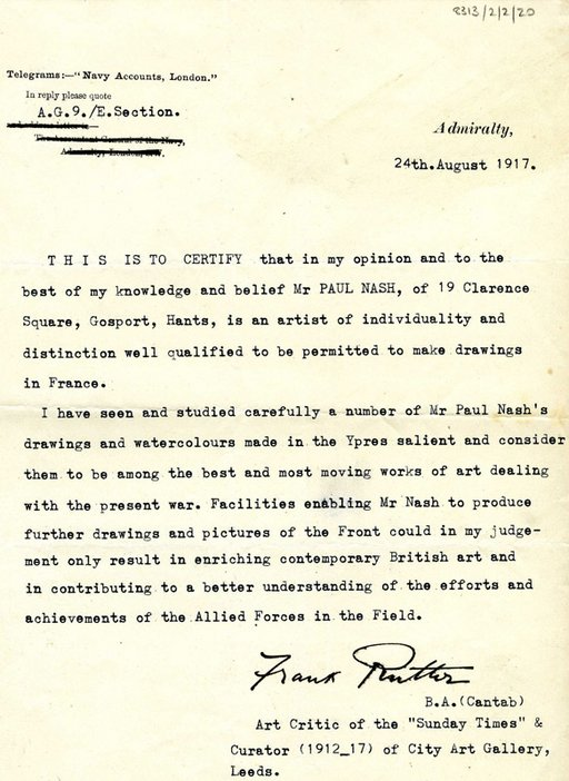 Letter from Frank Rutter recommending Paul Nash as a war artist and refers to Nash's Ypres Salient exhibition at Goupil Gallery