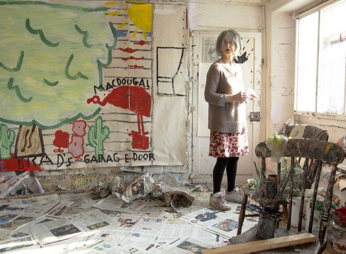 Artist Rose Wylie in her studio, February 2012