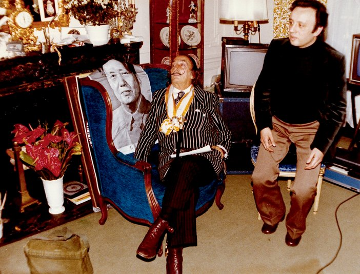 Salvador Dalí and José Montes Baquer in the Alphonse XIII suite at the Hotel Meurice during the making of Impressions of Upper Mongolia 1976