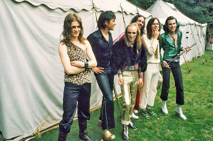Roxy Music's Paul Thompson, Bryan Ferry, Brian Eno and Phil Manzanera in 1972