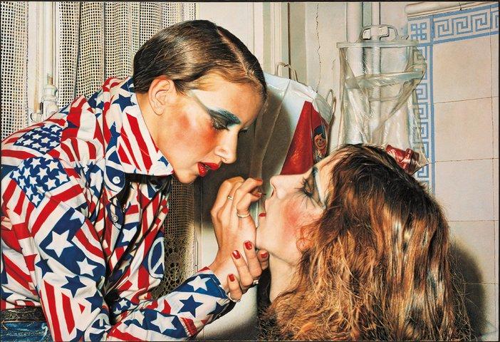 Franz Gertsch, Marina making up Luciano, 1975, Oil on canvas 234x346cm