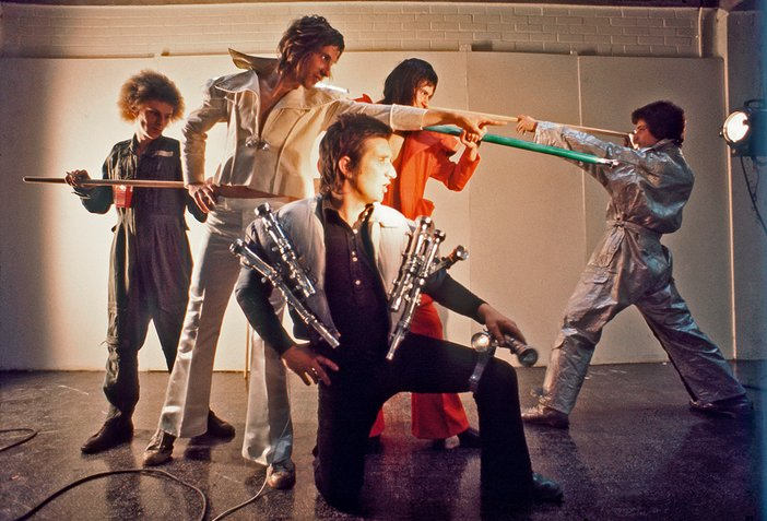 Bruce McLean and Paul Richards, Nice Styles: Glam Rock Performance 1974, Colour photograph