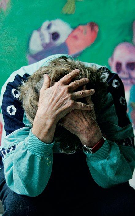 Maria Lassnig in her studio in Feistritz, Austria, 2010, photo by Sepp Dreissinger