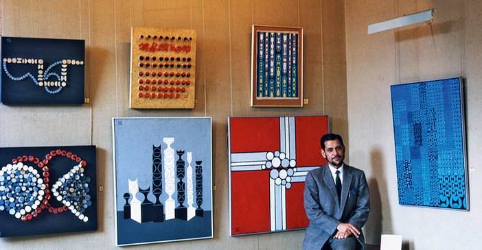 Anwar Jalal Shemza with his work at the Edinburgh Festival, 1969