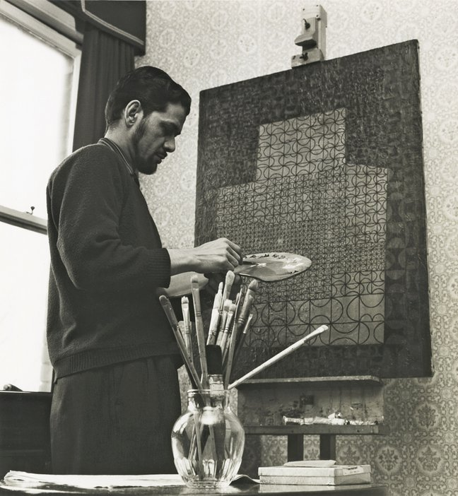 Anwar Jalal Shemza painting Magic Carpet at 9 Dericote Street, London, 1960s