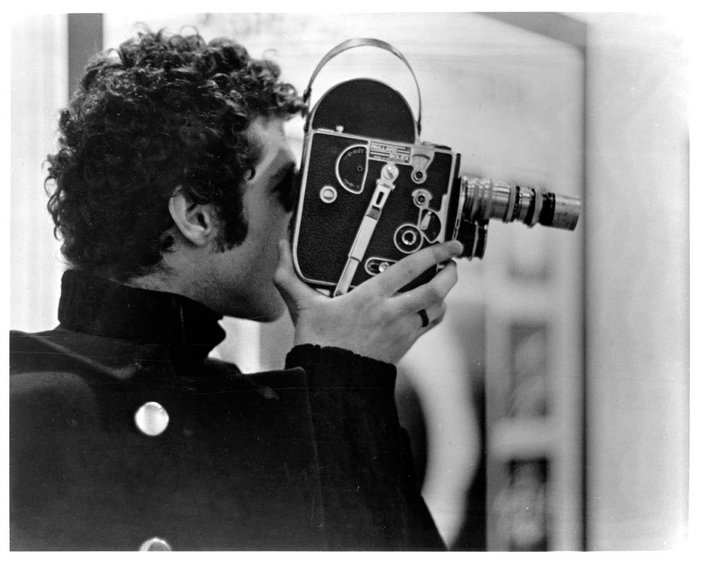 Warren Sonbert with his film camera