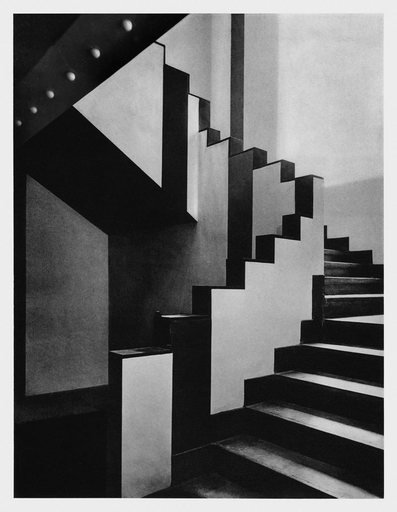 Staircase at the Cafe de Aubette designed by Theo van Doesburg and Sophie and Hans Arp photographed in 1928