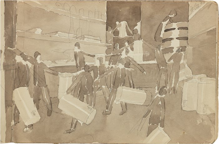 Page from one of Stanley Spencer's sketchbooks, c1919–27