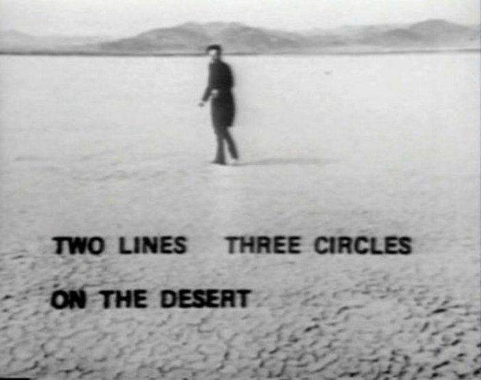 Still from Walter de Marias film Two Lines and Three Circles on the Desert 1969