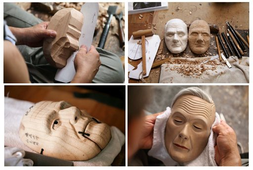 Stills from Simon Starlings film Project for a Masquerade Hiroshima featuring the making of masks for Henry Moore James Bond Joseph Hirshhorn and Anthony Blunt in the studio of Yasuo Miichi