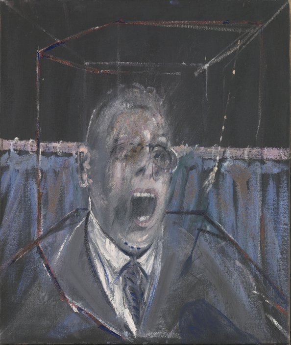 A painting of the shoulders and head of a man who appears to be screaming. His face is partly rubbed out and there is a very pale cube around the figure.