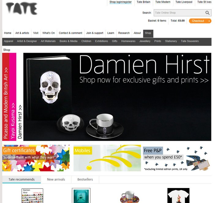 Screengrab of Tate Online Shop after redevelopment.