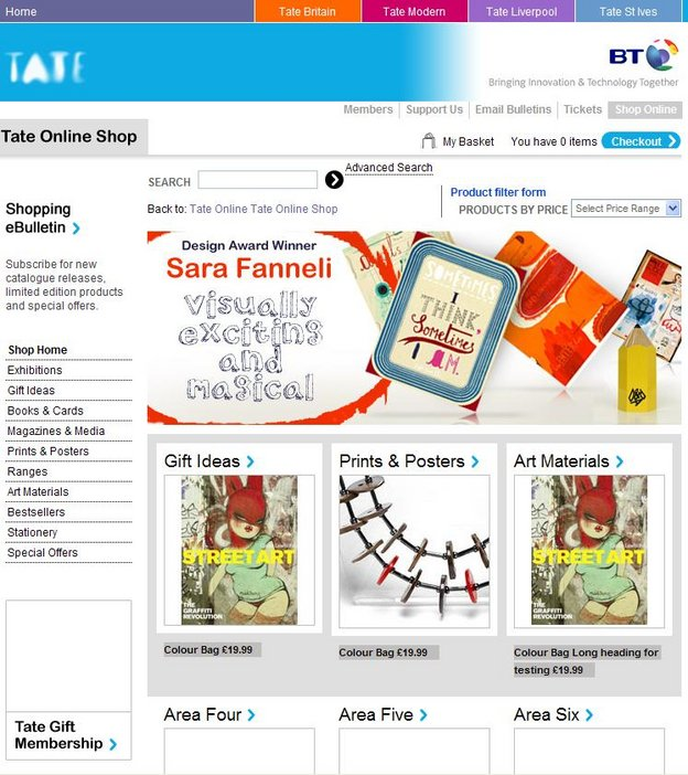 Screengrab of Tate Online Shop before redevelopment.