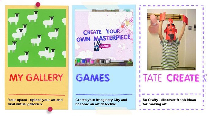 Screenshot from Tate Kids website showing My Gallery, Games and Tate Create