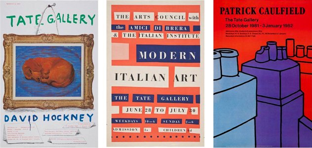Three vintage posters from previous exhibitions at Tate